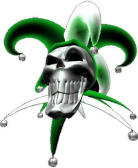 Green Jester Skull Decal / Sticker