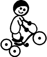 Tricycle Boy Stick Figure Decal / Sticker