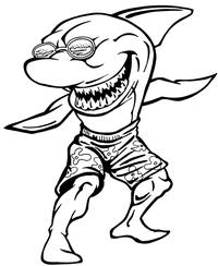 Surfing Shark Mascot Decal / Sticker