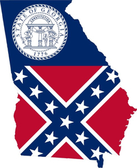 Georgia Outline State Flag Decal / Sticker 06