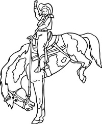 Cowgirl Riding a Bronco Decal / Sticker 04