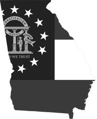 Georgia Outline State Flag Decal / Sticker 09