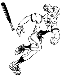 Rams Baseball Mascot Decal / Sticker 05