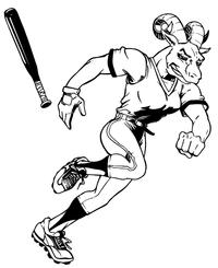 Rams Baseball Mascot Decal / Sticker 05