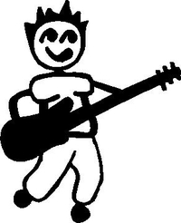 Guitar Player Stick Figure Decal / Sticker 01