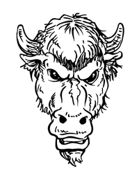 Buffalo Head Mascot Decal / Sticker hd3