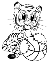 Basketball Tigers Cub Mascot Decal / Sticker 1