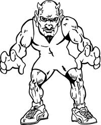 Wrestling Devils Mascot Decal / Sticker