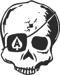 Ace Skull Decal / Sticker Design 6B