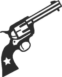 Six Shooter Pistol Decal / Sticker