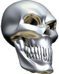 3D Chrome Skull 02 Decal / Sticker