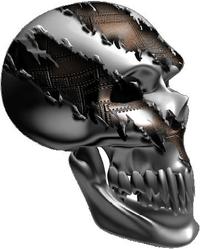 Ripped Metal Skull 01 Decal / Sticker