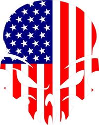American Flag Skull Decal / Sticker 43