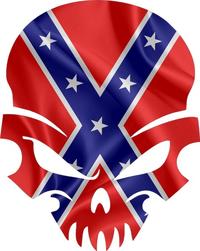 Confederate Flag Skull Decal / Sticker 47