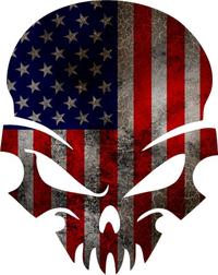 American Flag Skull Decal / Sticker 38