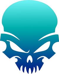 Aqua to Blue Fade Skull Decal / Sticker 39