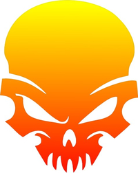 Yellow to Red Fade Skull Decal / Sticker 41