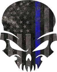Blue Lives Matter American Flag Punisher Decal / Sticker 44