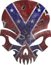 Confederate Flag Skull Decal / Sticker 45