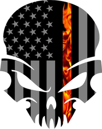 Thin Red Line American Flag Skull Decal / Sticker with Fire 46