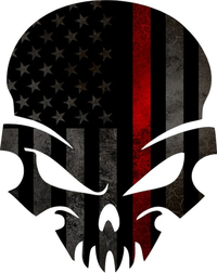 Thin Red Line American Flag Skull Decal / Sticker 48