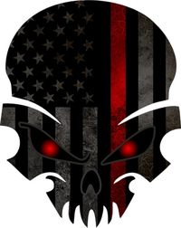 Thin Red Line American Flag Skull Decal / Sticker 49
