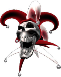 Red Jester Skull Decal / Sticker
