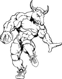 Football Bull Mascot Decal / Sticker