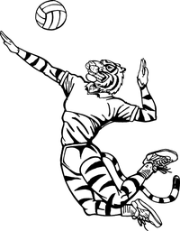 Tigers Volleyball Mascot Decal / Sticker