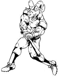Rams Baseball Mascot Decal / Sticker 03