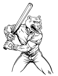 Baseball Batter Bear Mascot Decal / Sticker 02