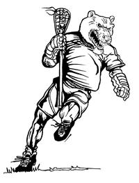 Lacrosse Bear Mascot Decal / Sticker 2