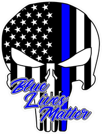 Blue Lives Matter American Flag Punisher Decal / Sticker 135