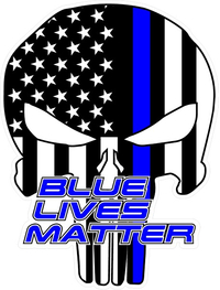 Blue Lives Matter American Flag Punisher Decal / Sticker 136