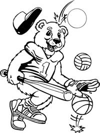 Sports Bear Mascot Decal / Sticker