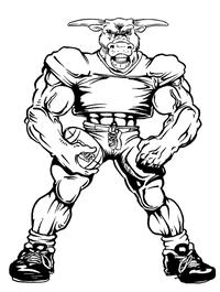 Football Bull Mascot Decal / Sticker 07