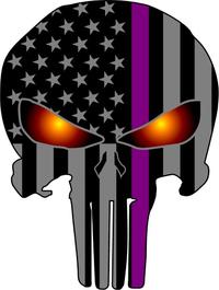 Thin Purple Line American Flag Punisher Decal / Sticker 173