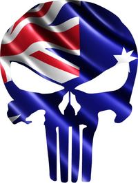 Australian Flag Punisher Decal / Sticker 03