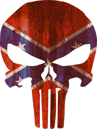 Rusted Confederate Flag Punisher Decal / Sticker 46
