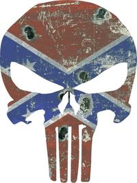Vintage Confederate Flag Punisher Decal / Sticker 47