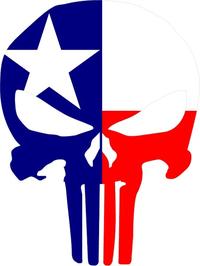 Texas Flag Punisher Decal / Sticker 61