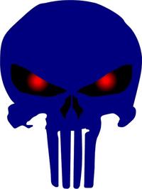 Dark Blue Red Eyed Punisher Decal / Sticker 63