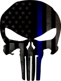 Thin Blue Line American Flag Punisher Decal / Sticker 66