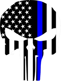 Thin Blue Line American Flag Punisher Decal / Sticker 67