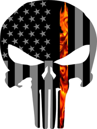 Thin Red Line True Fire American Flag Punisher Decal / Sticker 76