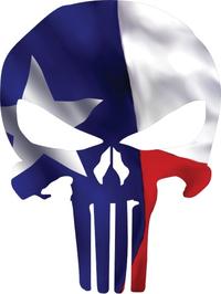 Texas Flag Punisher Decal / Sticker 107
