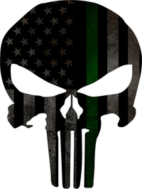 Distressed Thin Green Line American Flag Punisher Decal / Sticker 110