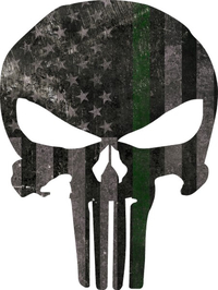Distressed Thin Green Line American Flag Punisher Decal / Sticker 111