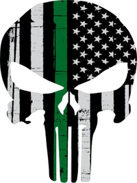 Thin Green Line American Flag Punisher Decal / Sticker 112