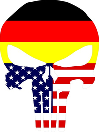 German American Flag Punisher Decal / Sticker 121